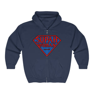 Unisex Outah-Wear Supah Woman Red Letters Heavy Full Zip Hoodie