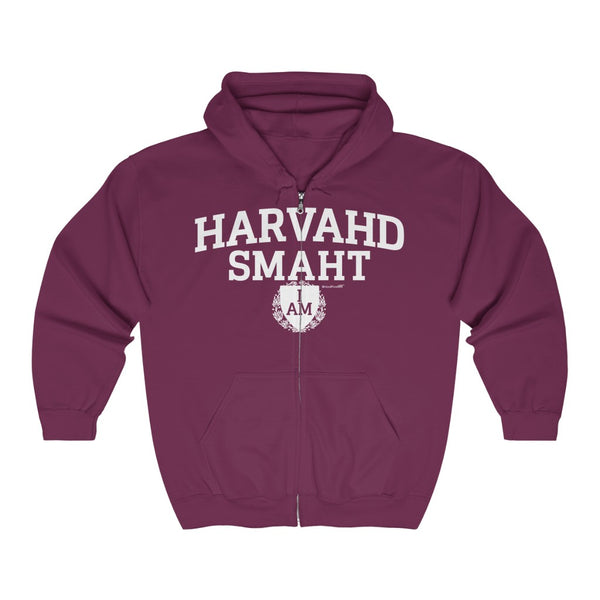 '-Unisex Outah-Wear Harvahd Smaht Shield Heavy Full Zip Hoodie