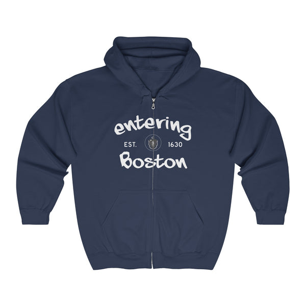 '-Unisex Outah-Wear Entering Boston White Letters Heavy Full Zip Hoodie