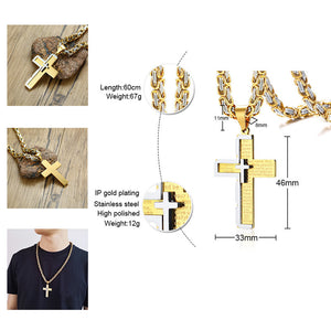 Gold Silver Stainless Steel Chain Catholic Crucifix