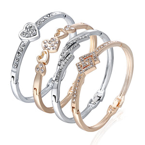 12 Styles Love Heart Bracelets Screw Bangles Women Stainless Steel Bracelet Bangle  Inlay Rhinestone Gold Silver