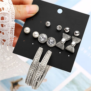 New Earrings Sets Gold Silver Small Big Circle Earrings for Women Heart Moon Bow Crystal Pearl Earring Sets