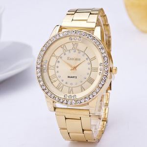Geneva Stainless Steel Watch Women Unisex Rhinestone