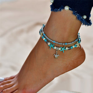 2 Layer Ankle Bracelet Cute Starfish