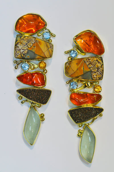 Mexican opal earrings with cherry jasper in 22k and 18k gold.  Designer jewelry, mother of the bride