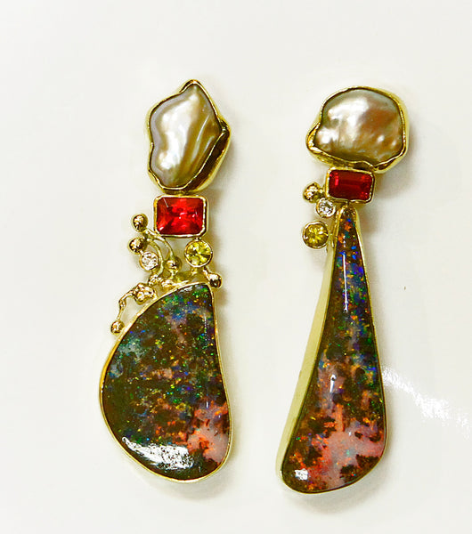 Boulder Opal earrings in 22k & 18k gold. Designer Jewelry