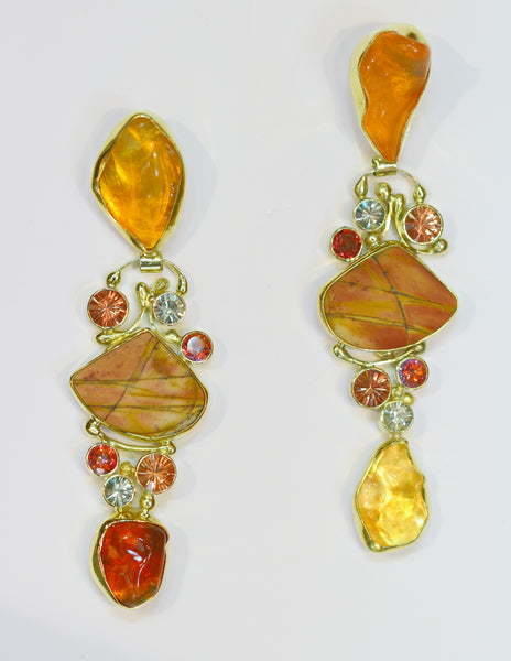 Mexican-opal-earrings-cherry-jasper-22k-18k-gold-kalled