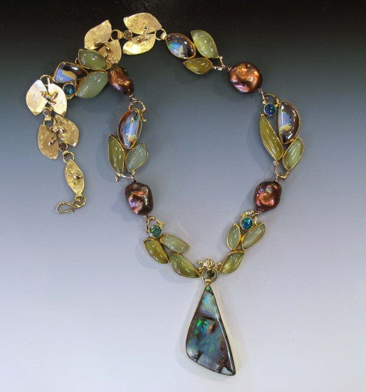 Boulder Opal and Aquamarine Necklace with Topaz and Pearl. 22k, 18k, 14k.