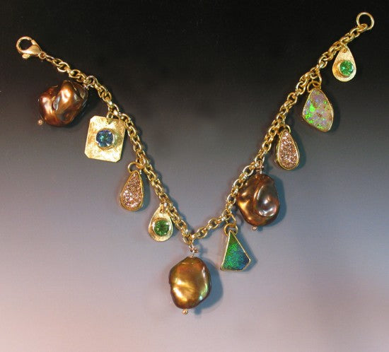 """Charmed I'm Sure"" Brown Pearl, Boulder Opal, Drusy Quartz, Tsavorite and Topaz. 22k, 18k & 14k."