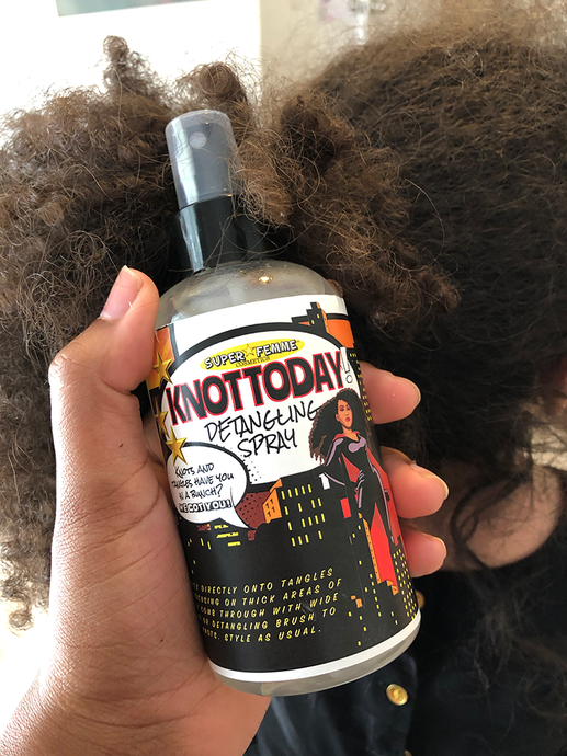 Using the Knot Today Detangling Spray