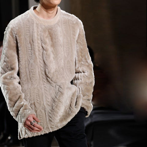 Men's casual fashion design round neck knit sweater