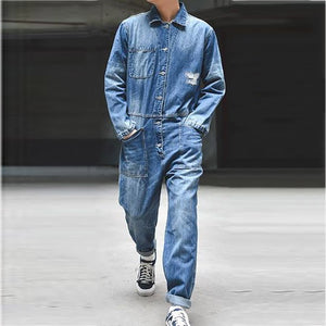 Mens Simple Casual Denim Jumpsuit