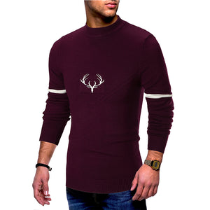 Deer head pattern half-high collar sweater