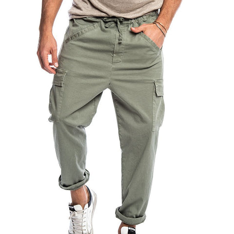 Mens Casual Tether Hip Hop Big Pocket Fashion Tapered Pants
