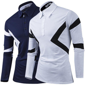Men Fashion Contrast Color Design Long-Sleeved T-Shirt