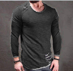 Fashion Round Neck Plain Long Sleeve  T-Shirts