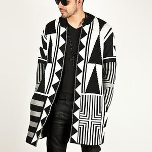 Casual Geometry Printed Knit Sweater Coat