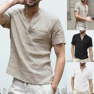Solid Color Short Sleeves Stand-Up Collar Shirt