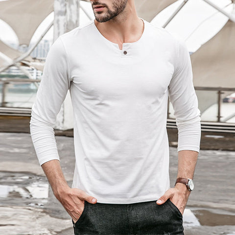 Men's Solid Color Round Neck Long Sleeve Slim Thin T-Shirt