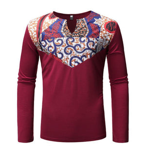 National Style Splicing Printed Long Sleeve T-Shirt