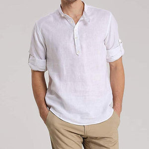 Casual Seven-Quarter Sleeve Stand Collar Shirt