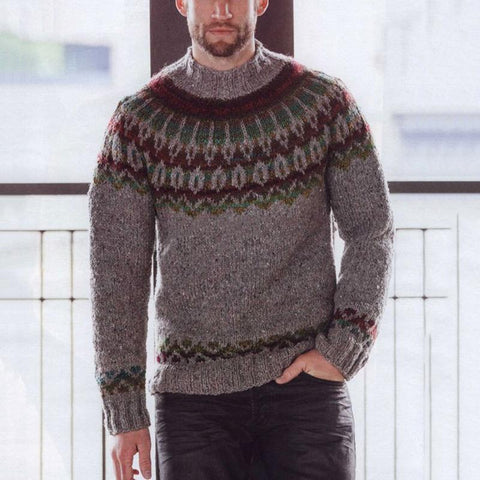 Autumn/Winter Men's  Round   Collar Long Sleeved Knitted Sweater