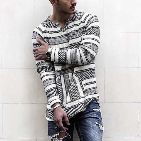 Casual V Neck Long Sleeve Stripe T-Shirt