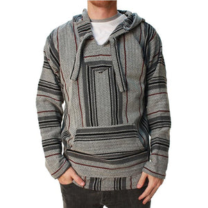 Vintage Striped Splicing Long Sleeves Baja Hoodie