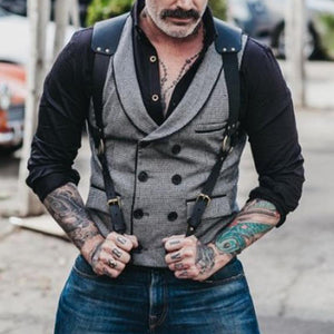 Fashion Folded Collar Solid Color Double Breasted Vest