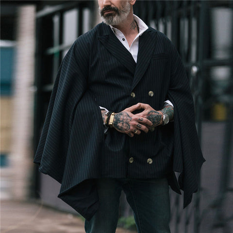 Men's Lapel Striped Double-Breasted Cloak