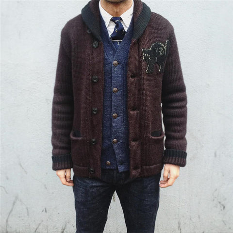 Men's Solid Color Knit Jacket