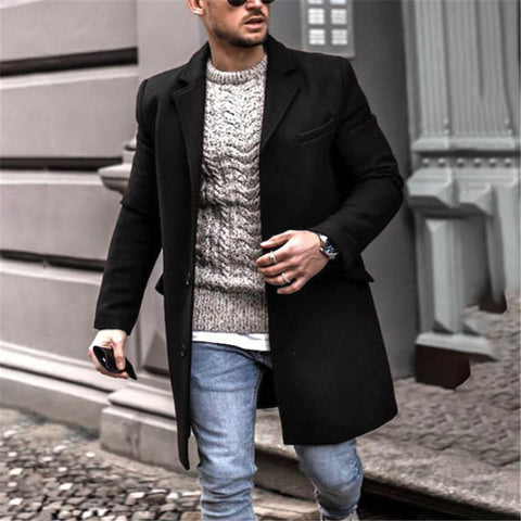 Men's Mid-length Thick Woolen Coat