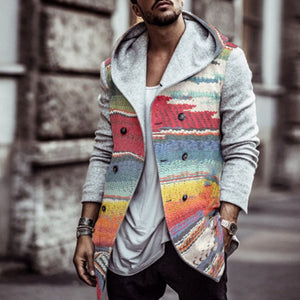 Business Casual Rainbow Print Hooded Coat