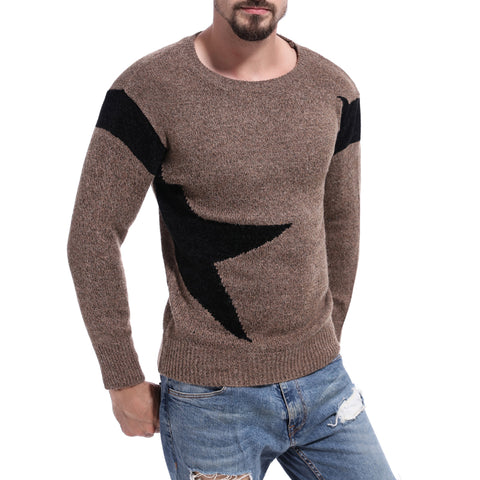 Mens color matching sweater trend color