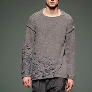Round Neck Solid Color Dark Design Sweater