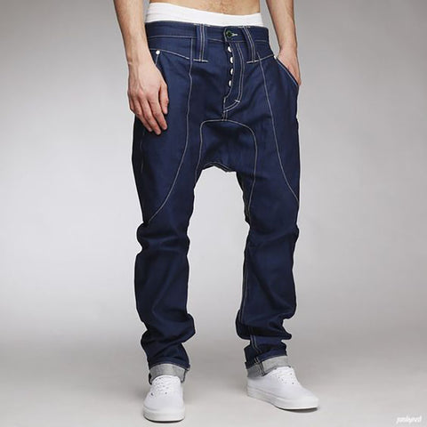 Design Mens Personality Button Casual Trousers