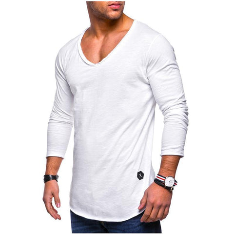 Men's Solid Color V-neck Long-sleeved T-shirt