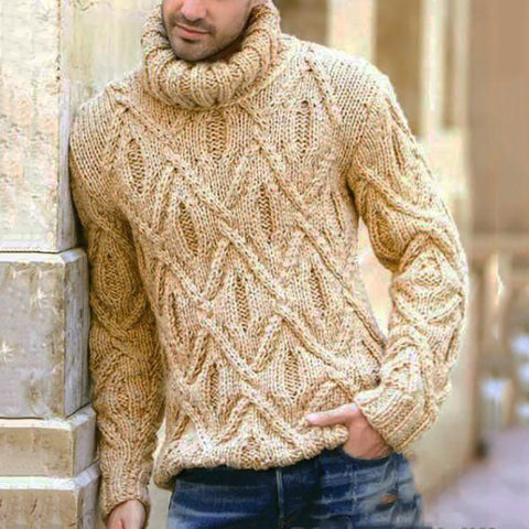 Casual Men High Neck Prismatic Sweater