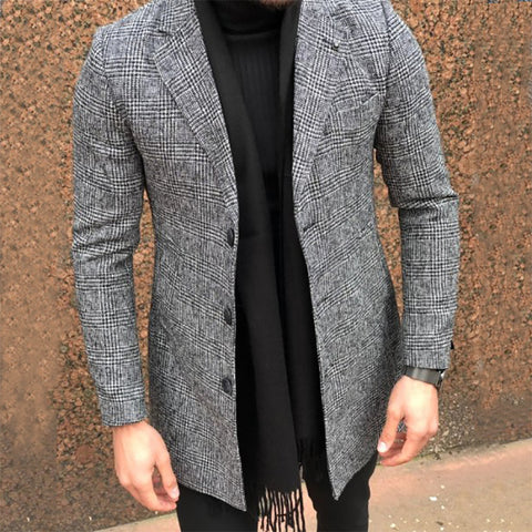Men's Fashion Lapel Check Woolen Coat