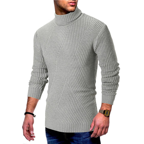 Solid color striped turtleneck mens sweater