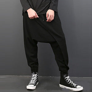 Solid color loose hanging file Harlan hip-hop wide leg pants
