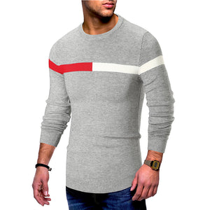 Casual round neck stitching mens slim sweater