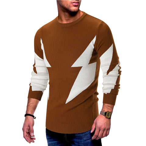 Lightning pattern round neck stitching sweater
