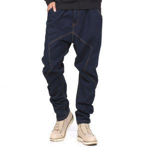 Casual Men's Solid Color Patchwork Loose Jeans