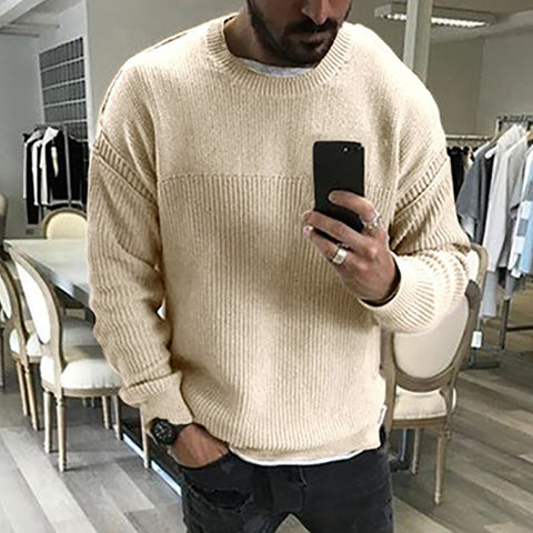 Men Loose Round Neck Solid Color Sweater