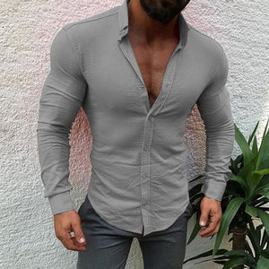 Men's Casual Cotton Linen Long Sleeve Shirt