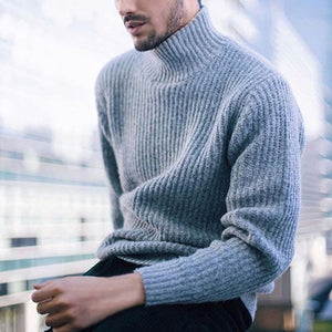 Men's Casual Pullover High Collar Long Sleeve Sweater