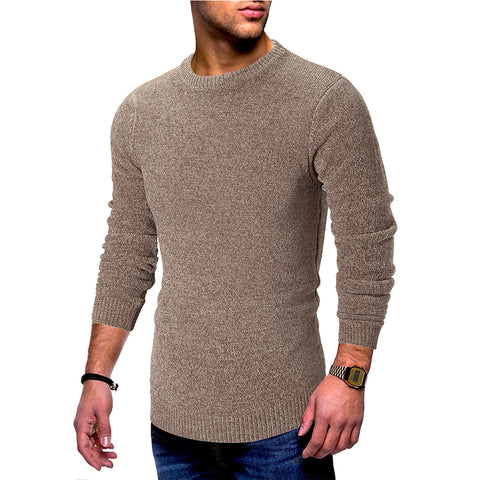 Solid color round neck long sleeve pullover mens sweater