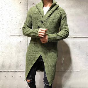 Mens Slim Long Solid Color Knit Jacket