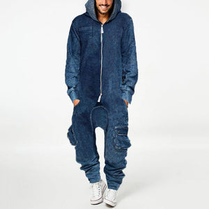 Fashion mens hooded casual one-piece trousers